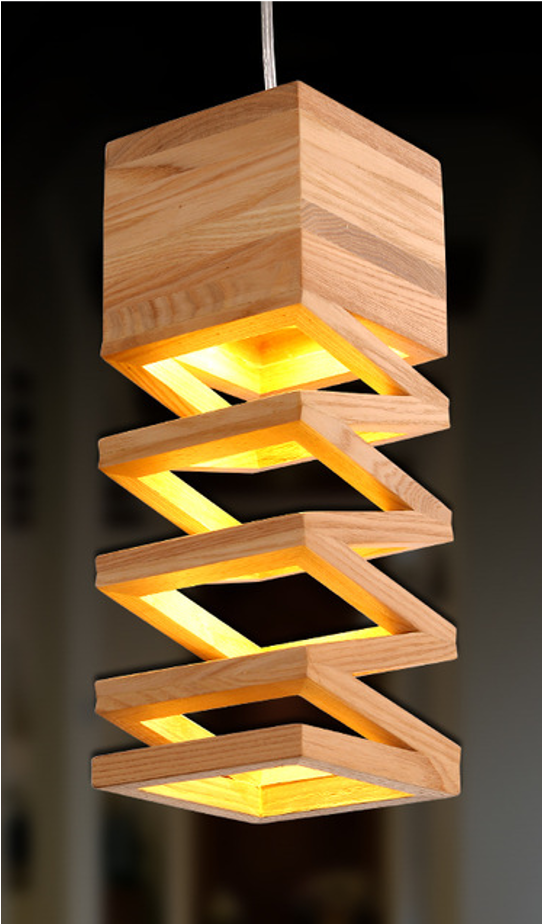 Sunbotic Wooden Ceiling Spring Lamp   Oak Wood Finish