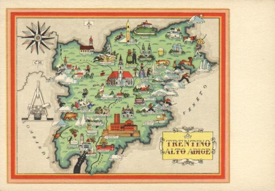 Cartina Italia Trentino Alto Adige.Cartolina Turistica Del Trentino Anni 50 Del Novecento Mappe Illustrate Alto Adige Mappe