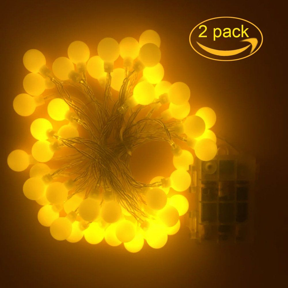 Malier 2017 Newest 2 Pack Globe String Lights Battery powered, 50 ...