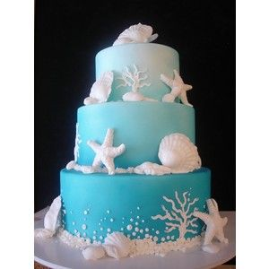 Under The Sea Cake This Has Different Shades Of Blue And By Adding Shells It Add To Your Ocean Theme