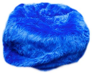 Incredible Fun Furnishing Small Beanbag Royal Blue Fuzzy Fur Inzonedesignstudio Interior Chair Design Inzonedesignstudiocom