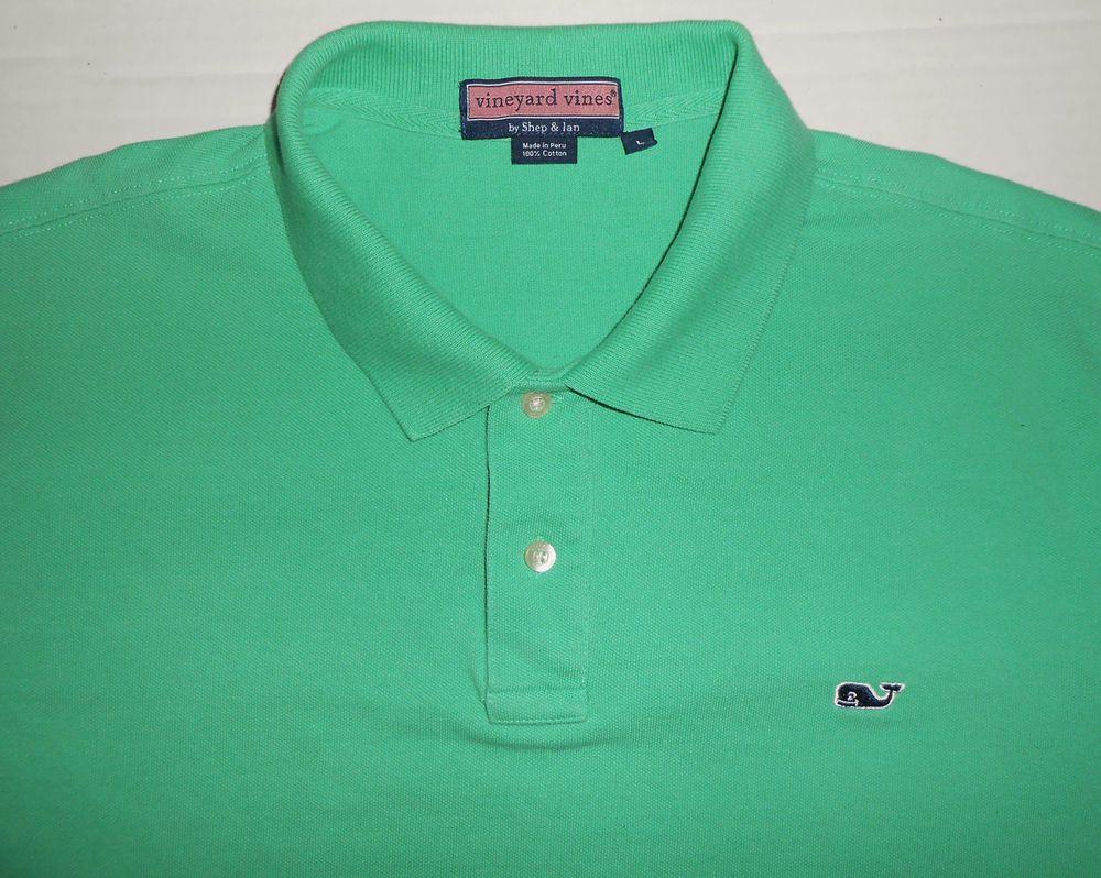 Vineyard Vines Mens Solid Green Polo Shirt L Large Shep Ian Golf