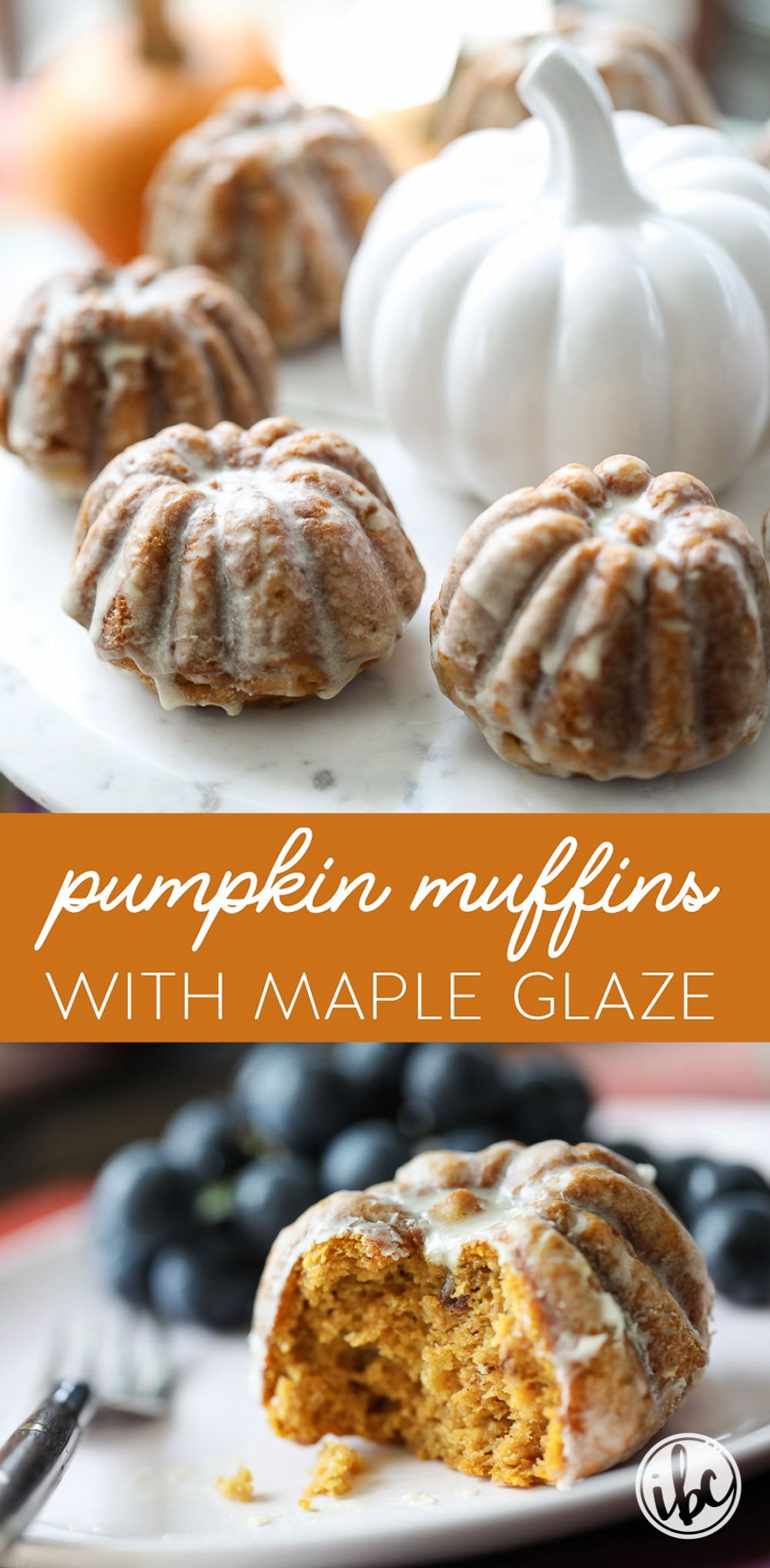 These Pumpkin Muffins with Maple Glaze make the perfect fall breakfast, brunch, or dessert treat. #pumpkin #muffins #maple #breakfast #dessert #pumpkinspice #recipe via @inspiredbycharm #pumpkinmuffins