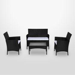 imora salon de jardin rsine tresse noirecru ensemble 4 places canap - Ensemble Salon De Jardin