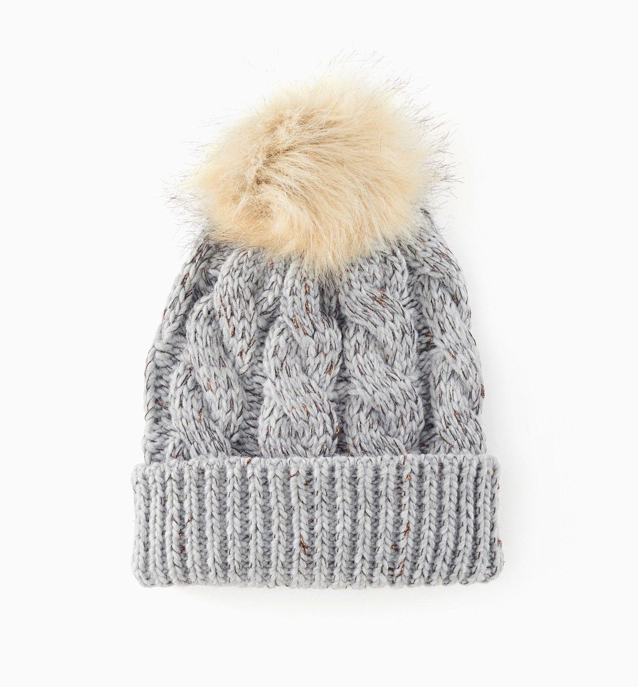 Bonnet à pompon - Gris - Accessoires - Femme - Promod   Anniversaire ... 31f98a46ad7