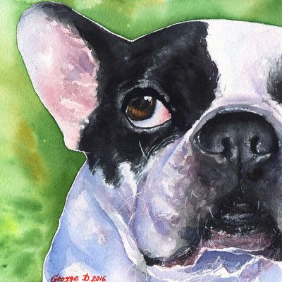Marmont Hill 'French Bulldog' by George Dyachenko Painting Print on Wrapped…