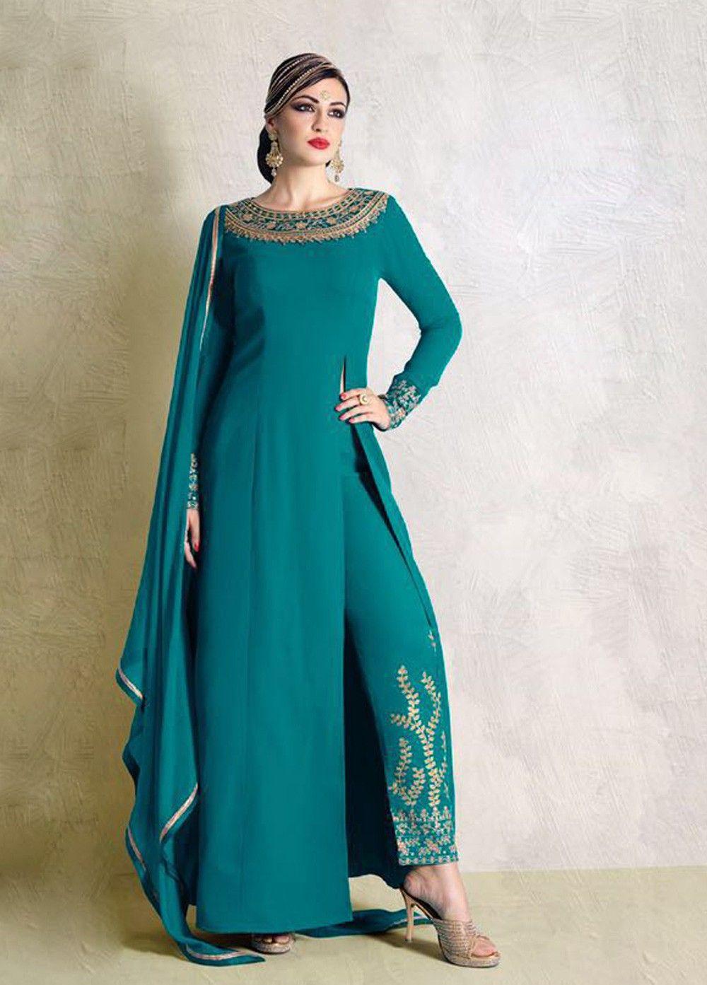 Impeccable Blue Crape #Partywear #SalwarSuit #womenwear #ethnicwear ...