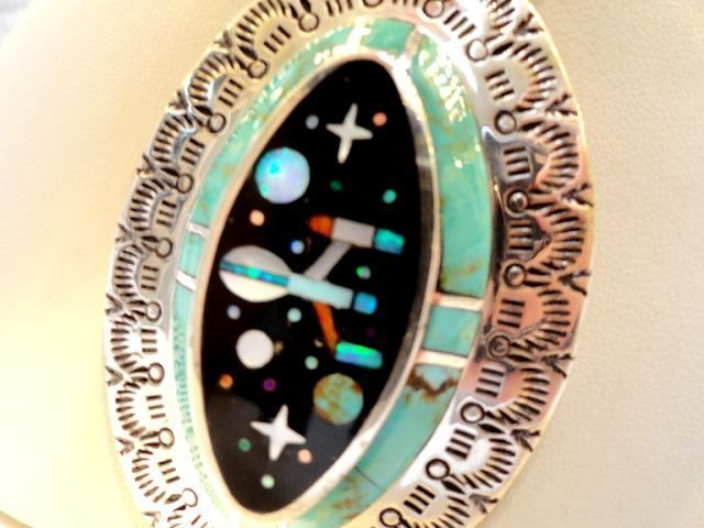 $2K NWT HUGE HEAVY USS ENTERPRISE Star Trek Planet Comet Opal Turquoise Pendant