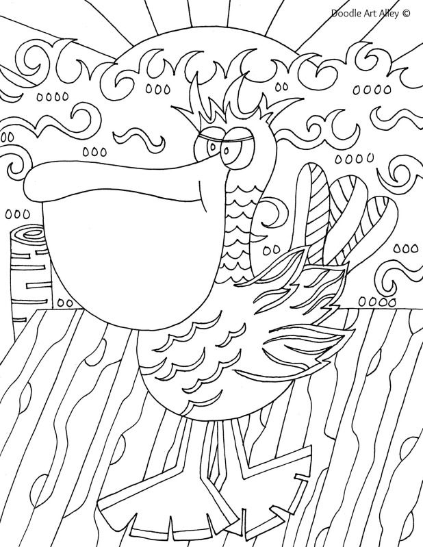 Free Printable Ocean Animal Coloring Pages From Doodle Art Alley. Pelican