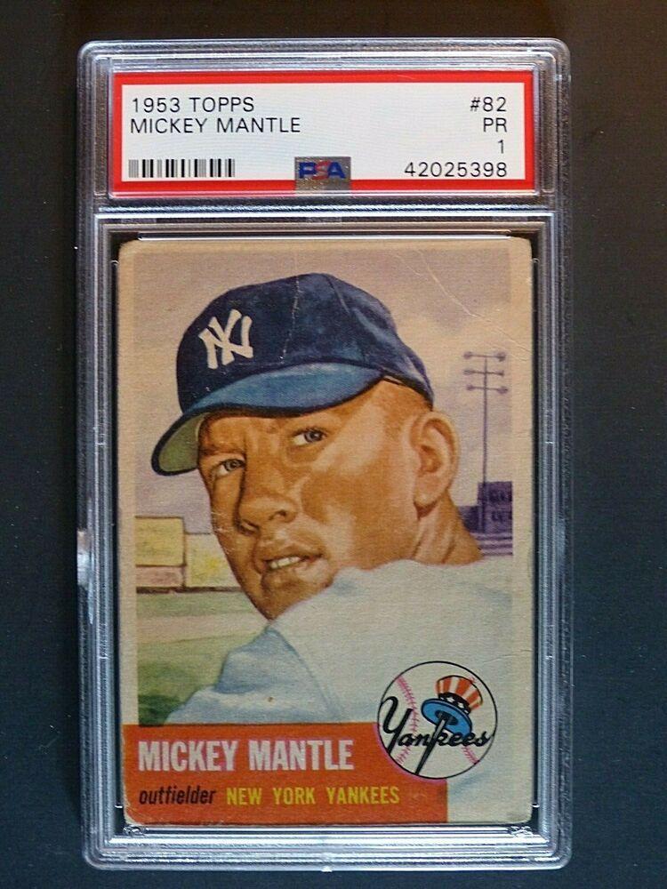 1953 Topps 82 Mickey Mantle PSA 1 PR New York Yankees
