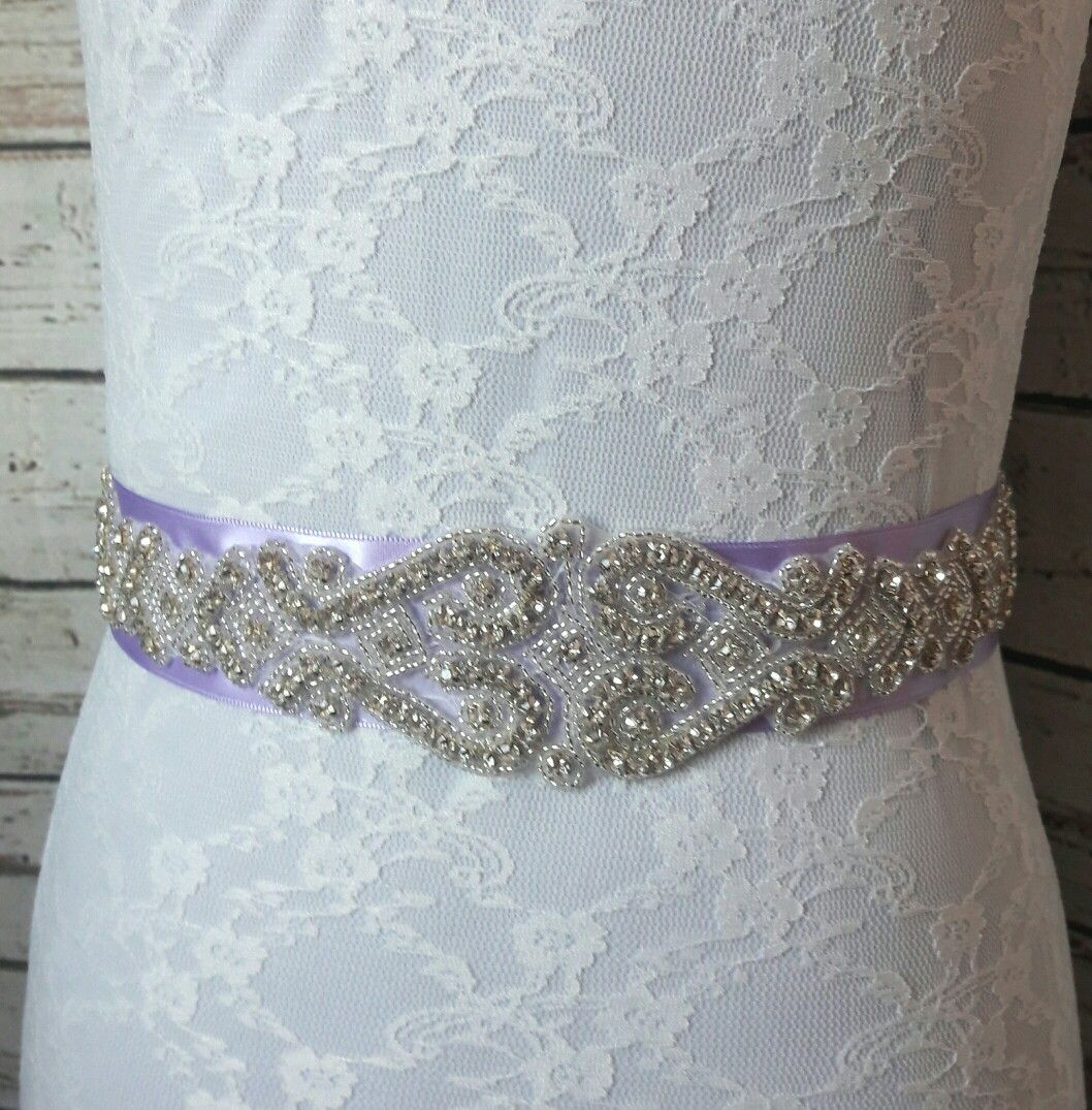 Rhinestone bridal sash on lavender ribbon | Wedding Bridal belts ...
