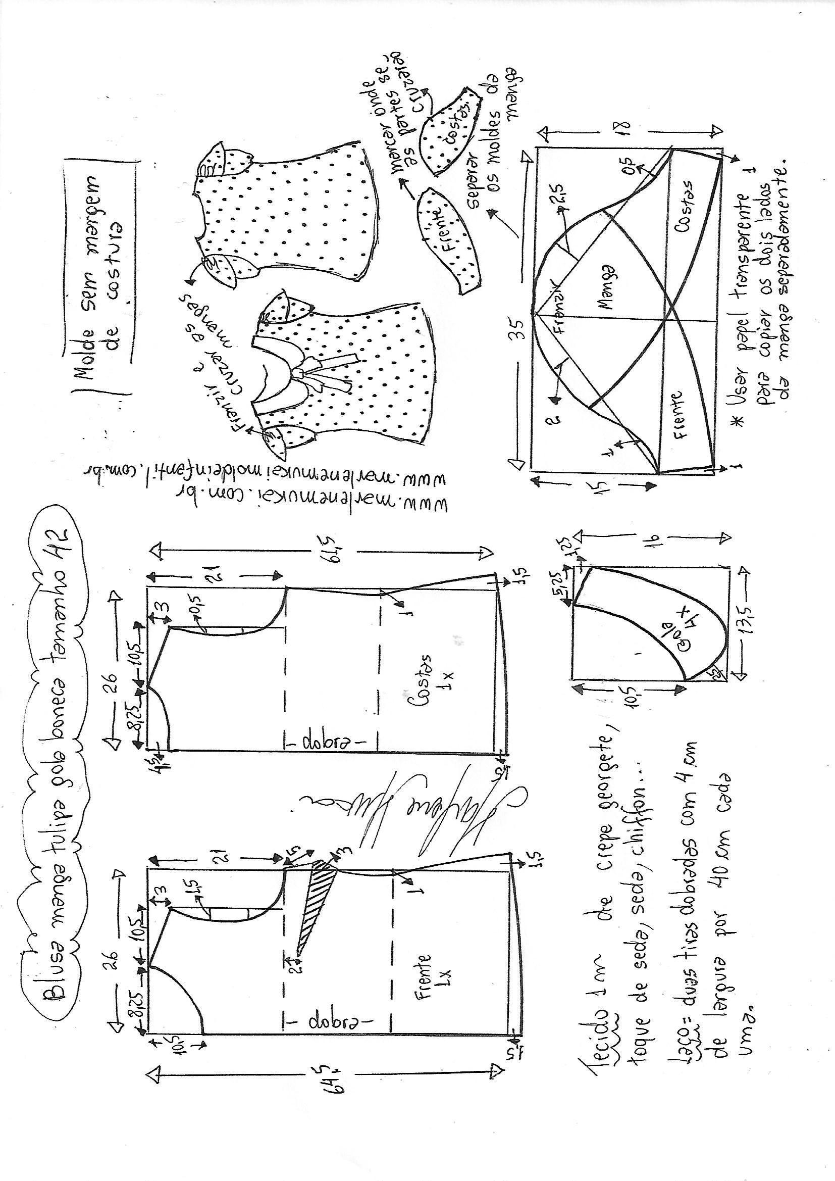 Blusa manga tulipa e gola boneca | Blusas | Pinterest | Costura ...