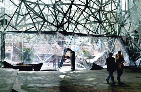 The inflatable wall for Federation Square in Melbourne Australia