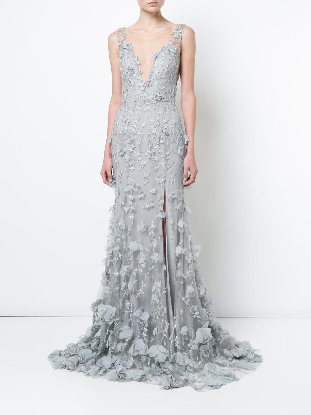 8c132d436bf2 Marchesa Notte 3D floral plunge gown