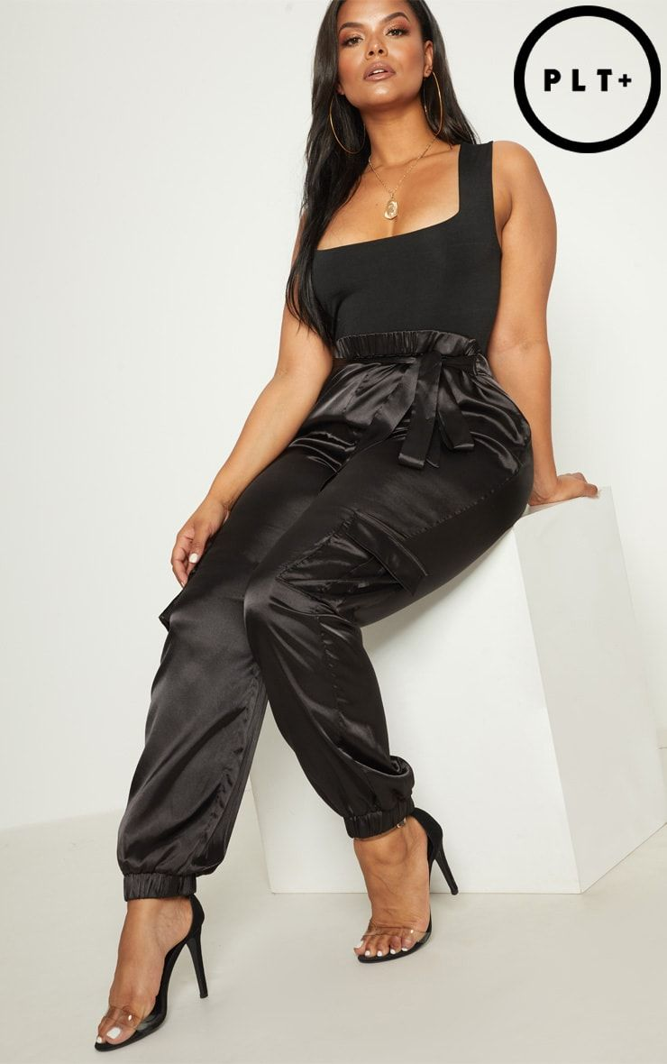 78c9bce0433e4 Plus Black Satin Cargo Trousers . Head online and shop this season's range  of plus size at PrettyLittleThing. Express delivery & student discount  available.