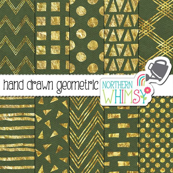 Green and Gold Digital Paper – hand drawn geometric patterns in gold foil on olive green - scrapbook paper - printable paper -commercial use