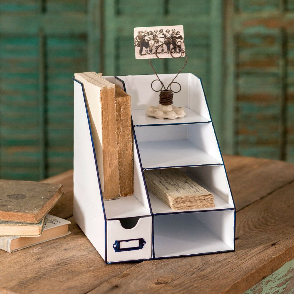 Desktop office supplies organizer metal six bin caddy