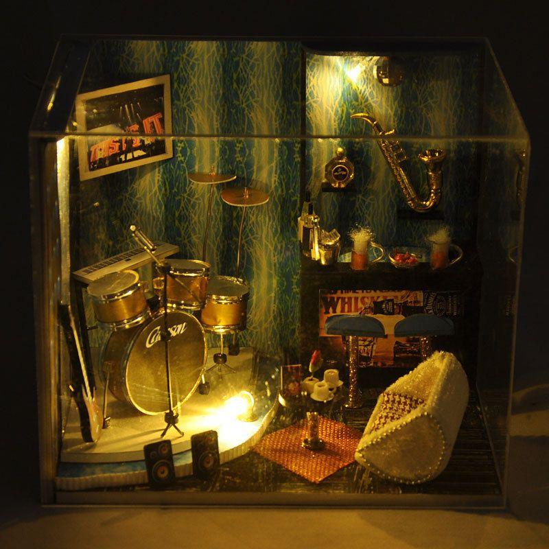Kits DIY Wood Dollhouse miniature with Furniture+Cover Doll house Music Kindom