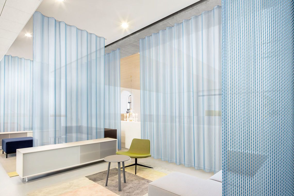 Colourful Acoustics Curtains Curtain Fabric Showroom Design