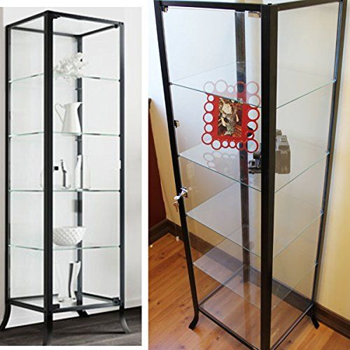 Curio Cabinet Display With Glass Door And Lock For Collectibles And