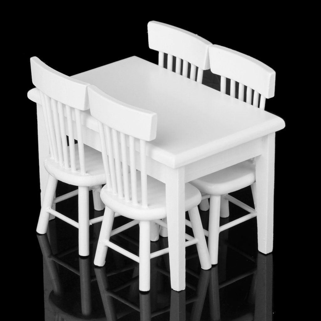 Dollhouse Dining Room Kitchen Furniture White Dining Table Chairs Set 1//12