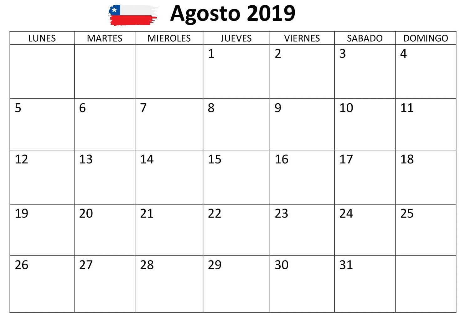 Calendario De Agosto 2019 Chile.Agosto Calendario Negocios 2019 Chile Cuadro Mensual