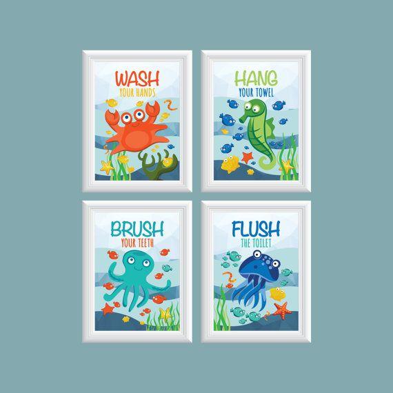 Delicieux Fish Bathroom Decor Kids Bathroom Wall Art Ocean Theme Bathroom Wash Flush  Hang Brush! Octopus