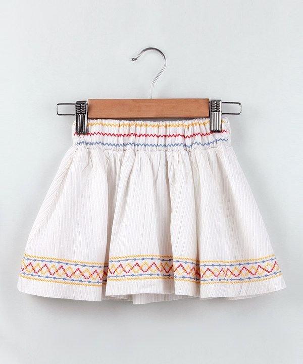 15b91206e978d Look at this Beebay Off-White Stripe Embroidered Skirt - Girls on #zulily  today!