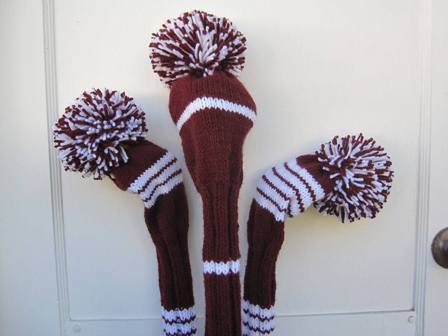 Hand Knit Golf Club Head Covers Set of 3 Burgundy and White with Pom ...