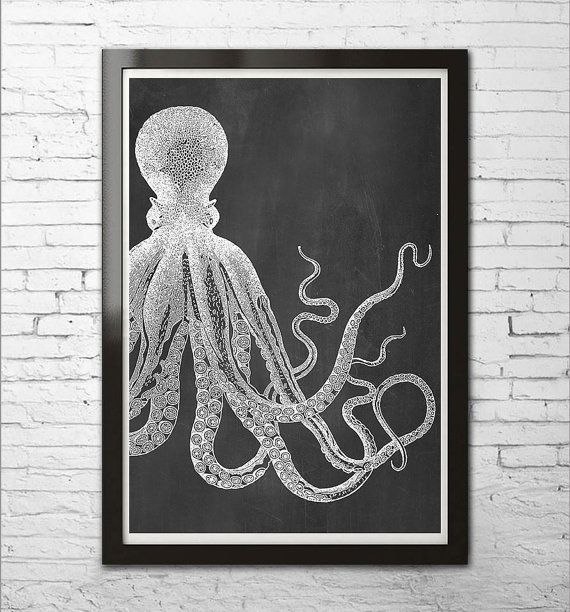 Items Similar To OCTOPUS Vintage Art Print Poster Black White Chalkboard  Marine Sea Life Modern Beach Bathroom Nautical Illustration A3 8x10 +More  Sizes On ...