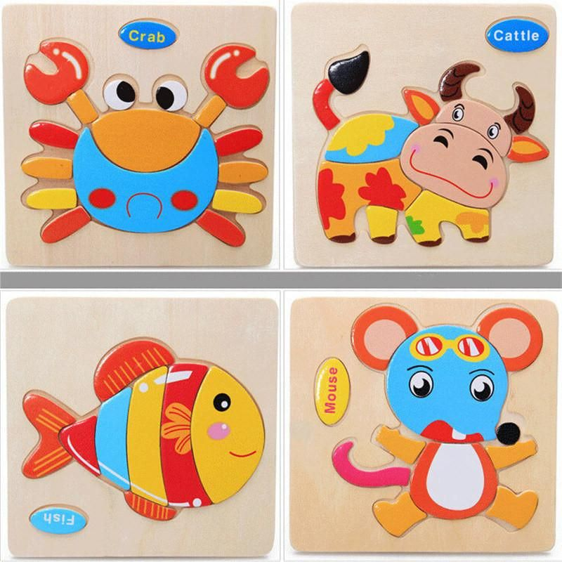 Kids Jigsaw Puzzle Toys 3D Chunky Wooden Puzzle Educational Toys for Toddlers