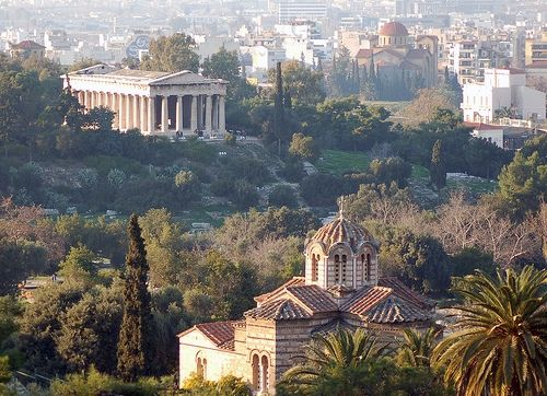 View Of The Ancient Agora Athens Greece With The Thission