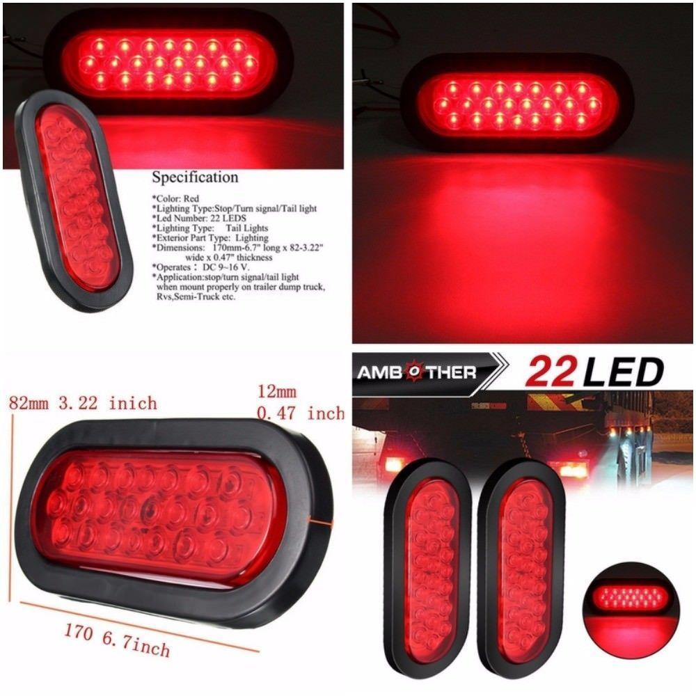 Truck Trailer Tail Light LED Stop Turn Brake Signal Oval Tailgate ...