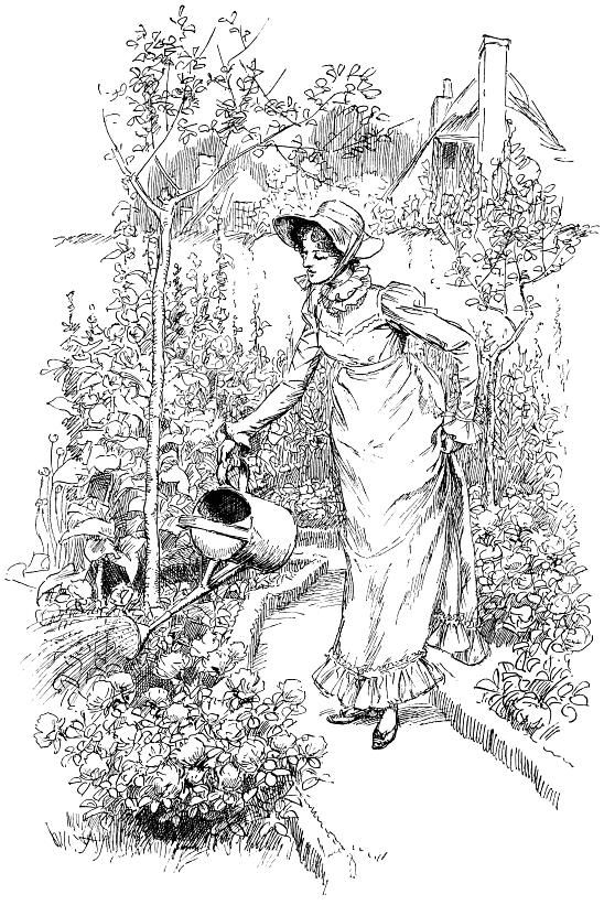 Regency garden scene bon day