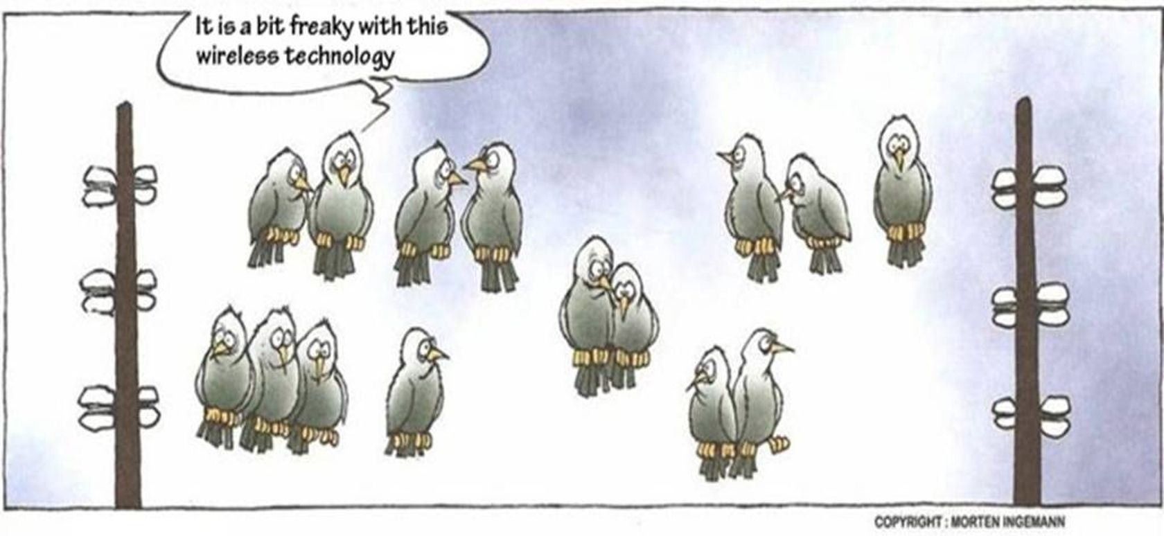 Image result for wireless bits cartoon funny