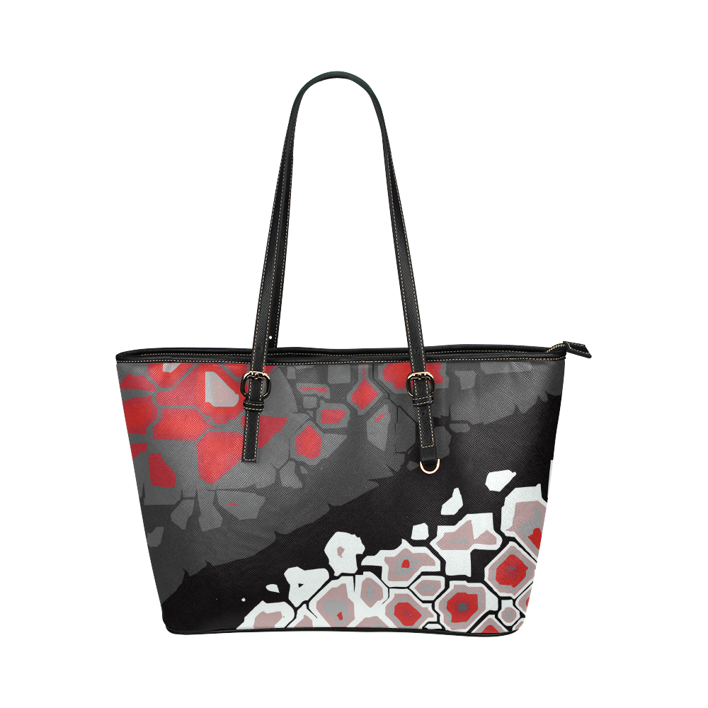 Breaking Ice Modern Abstract Landscape Leather Tote Bag/Small (Model 1651)