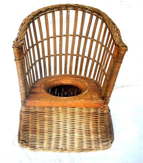Vintage Heywood Wakefield Rare Victorian Childs Wicker Potty Chair
