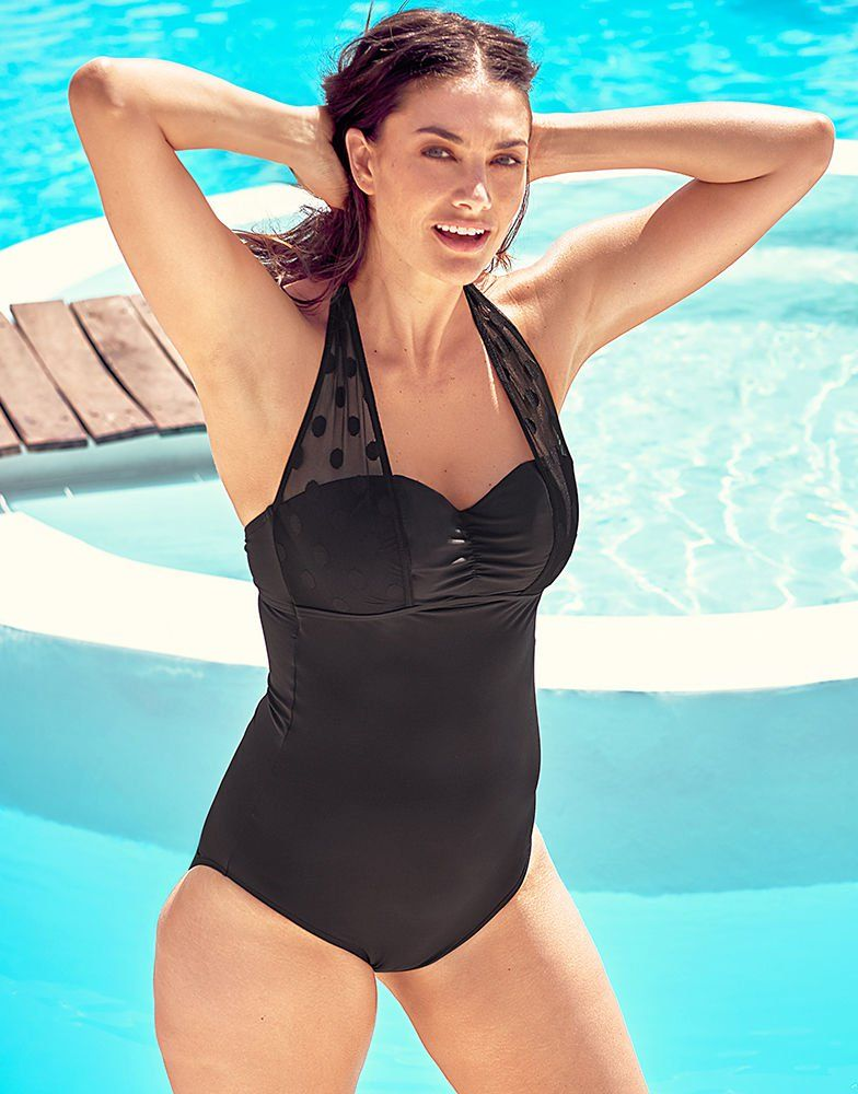 522e66e2b13ca Icon Spot Mesh Underwired Shaping Halter Black Swimsuit D-G cup | figleaves  | Figleaves