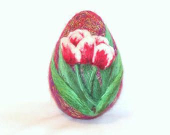 Large needle felted easter egg daisies on blue egg needle large needle felted easter egg daisies on blue egg negle