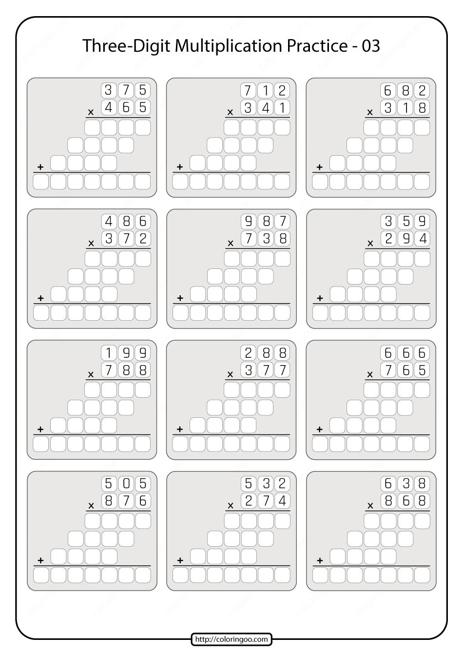 Threedigit Multiplication Practice Worksheet 03. in 2020