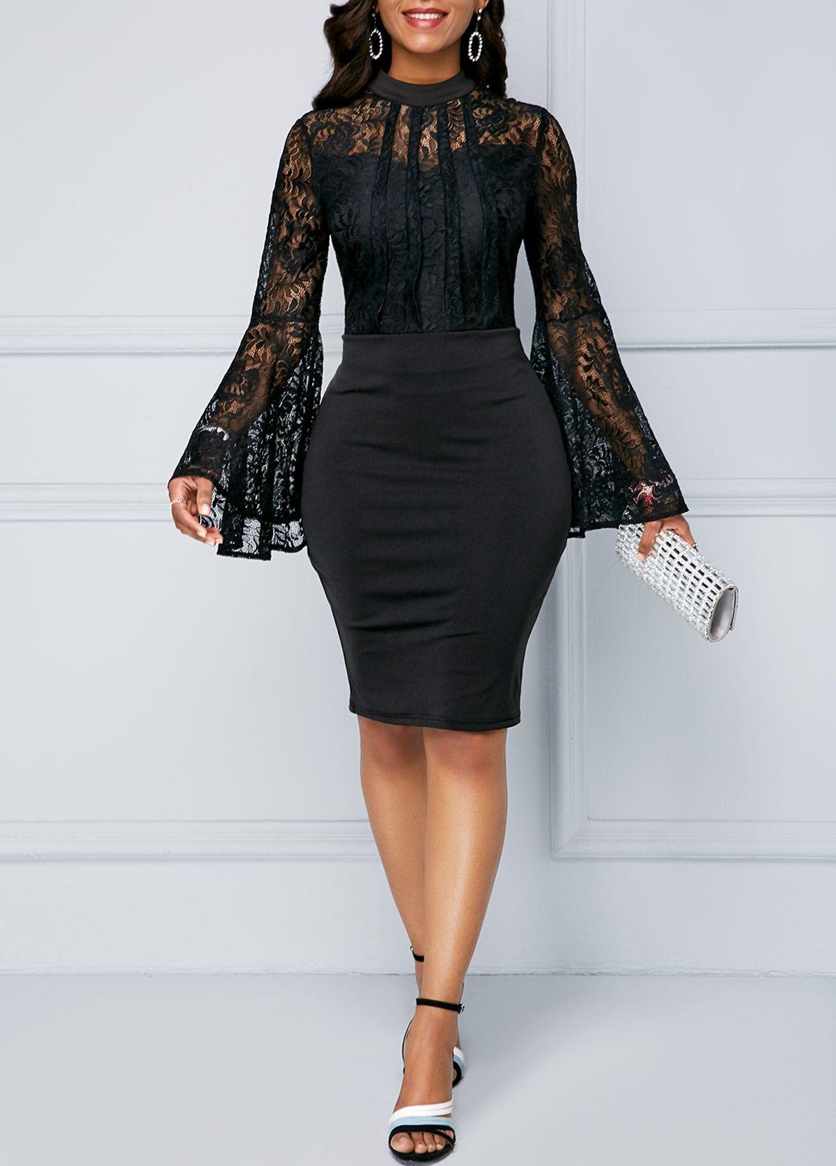 db60908afab Lace Panel Black Scoop Neck Sheath Dress liligal dresses