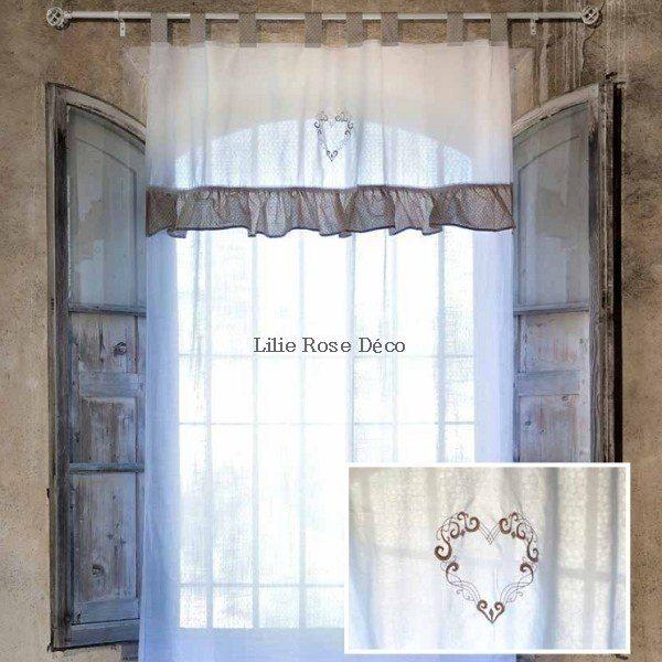 rideau de charme avec volant blanc mariclo brises bise stores rideaux pinterest. Black Bedroom Furniture Sets. Home Design Ideas