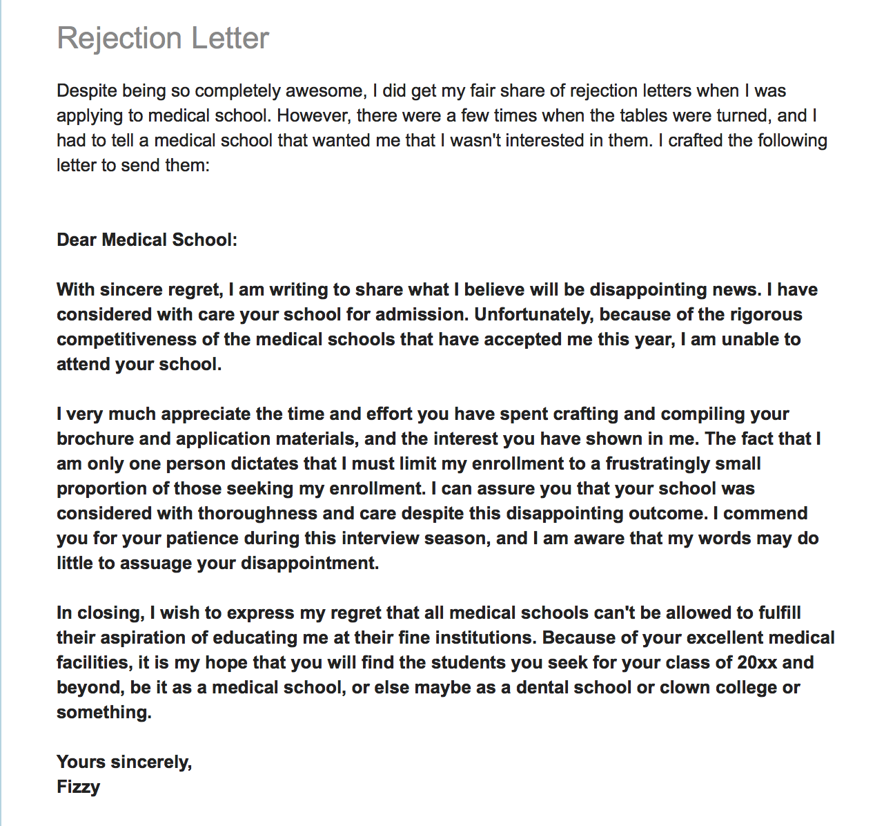 Medical School Rejection Form Letter  Applicant Rejecting School