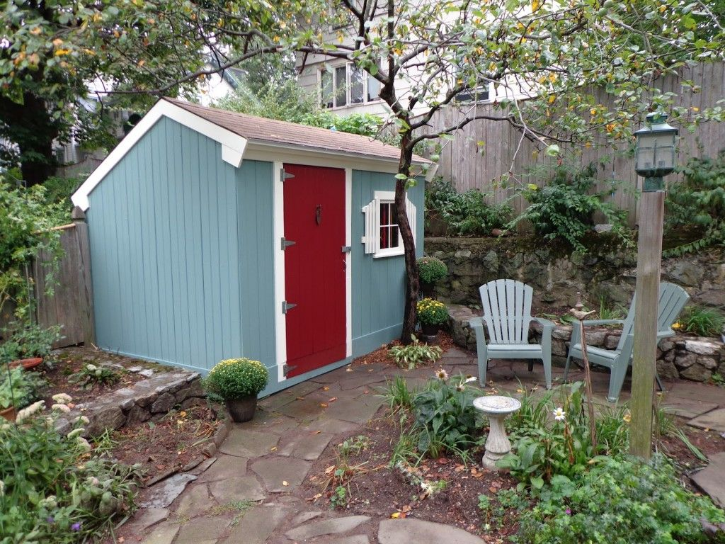 shed makeover slate blue white and barn red yeah stay in the