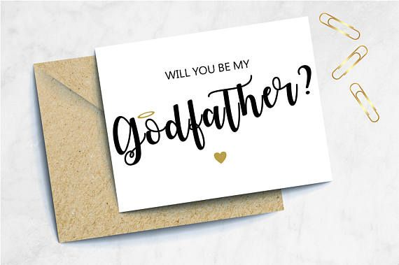 Godparent Asking Card BT Baptism Gift Simple Will You Be My Godfather Card Blue and White God Father Proposal Card Christening Gift