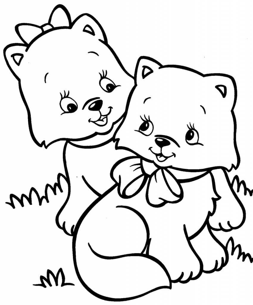 Ausmalbilder Katzen Babys : Kitten Coloring Pages