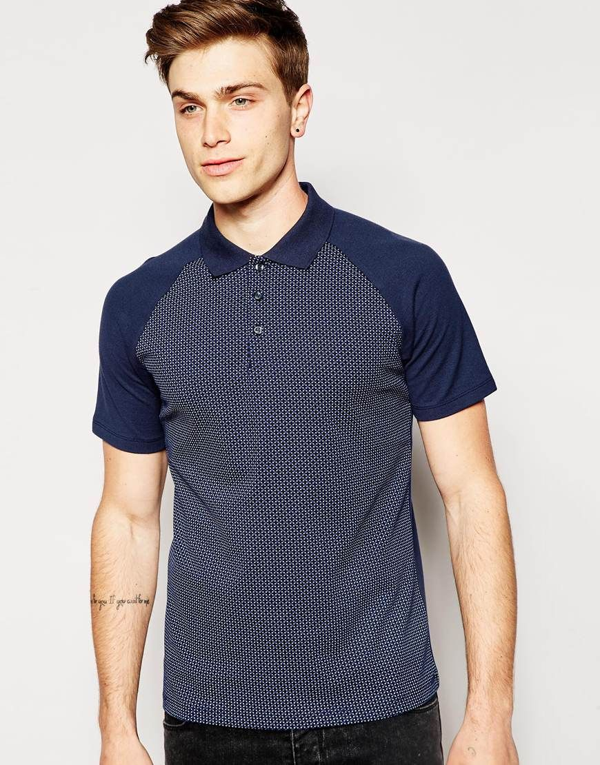 Polo shirt by Jack & Jones Breathable cotton pique Printed front panel Polo  collar Three button fastening Raglan sleeves Regular fit - true to size  Machine ...
