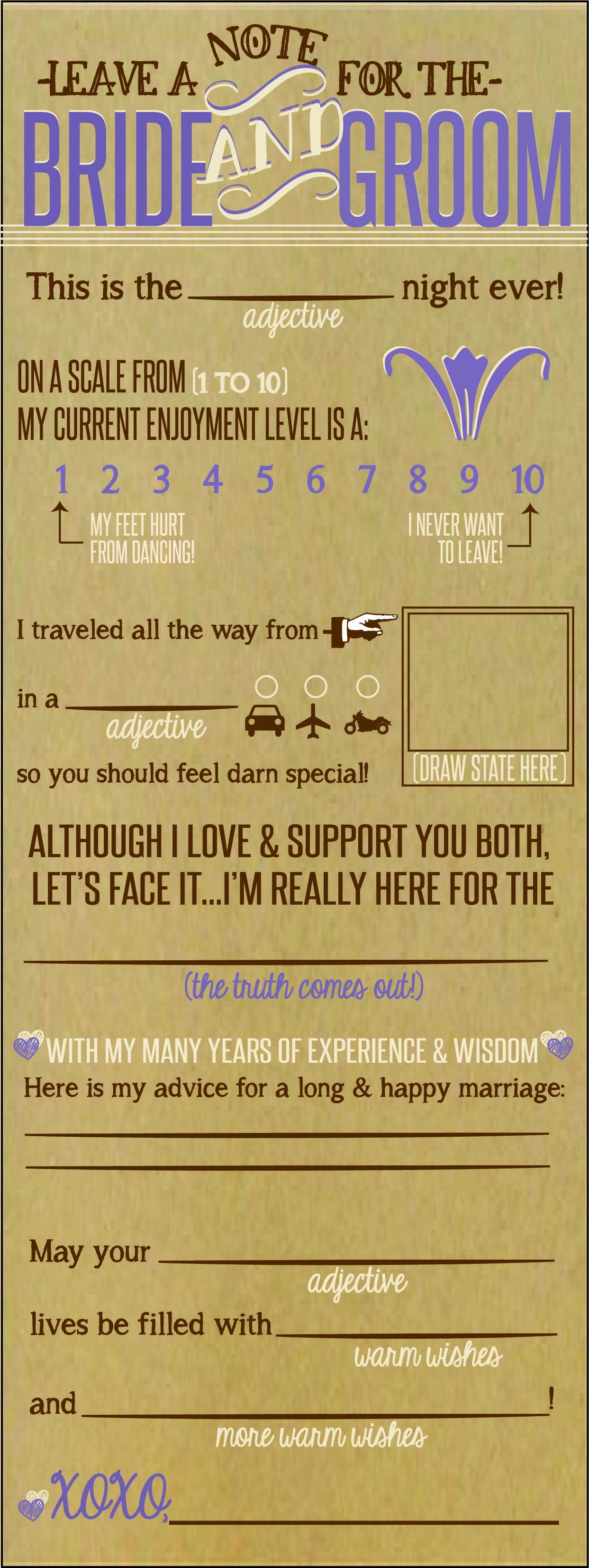 Bride And Groom Note