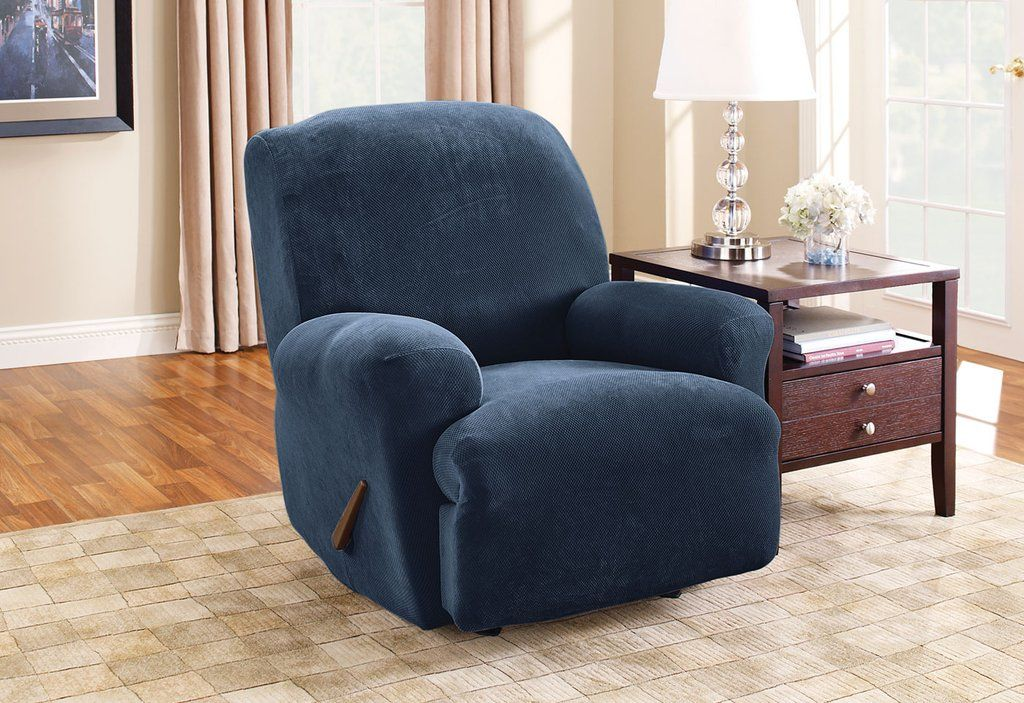 Stretch Piqué One Piece Recliner Slipcover Form Fit