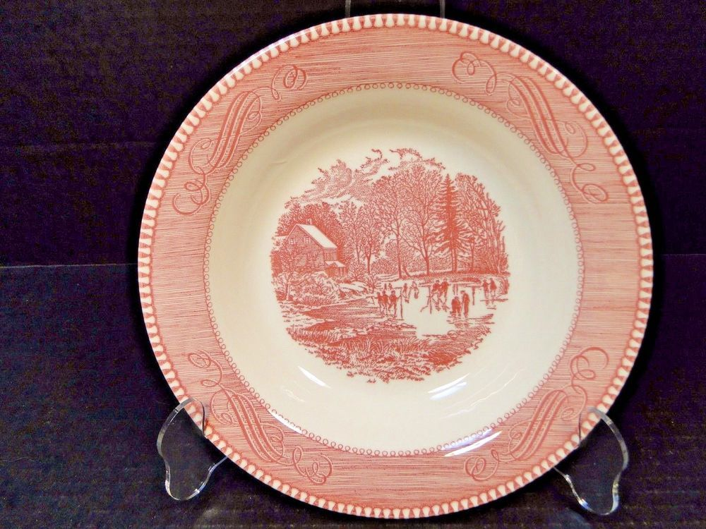 Currier Ives Royal China Red and White Pink Soup Bowl Early Winter 8 1/2  NICE! & Currier Ives Royal China Red and White Pink Soup Bowl Early Winter 8 ...
